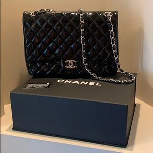 Authentic CHANEL Patent Leather Jumbo Flap Bag